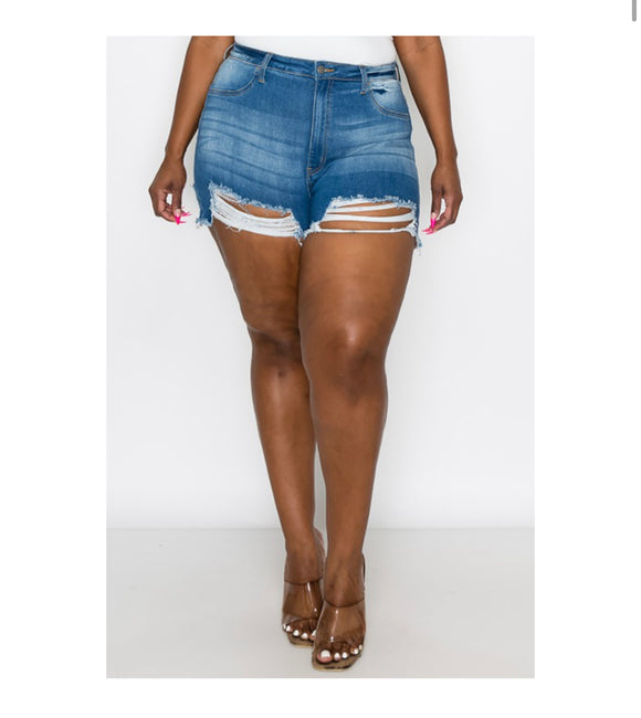 Distressed Plus Size Shorts -  Mogul Boutique