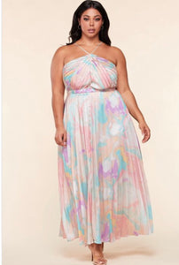 Pastel Watercolor Print Maxi -  Mogul Boutique
