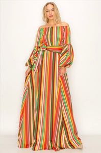 Multicolored Striped Maxi with Bell Sleeves -  Mogul Boutique