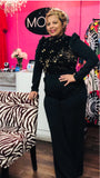 Sequined Pattern Puff Sleeve Jumpsuit -	Mock Neck, Long Sleeve -	Flared Leg Design, Zipper on Back