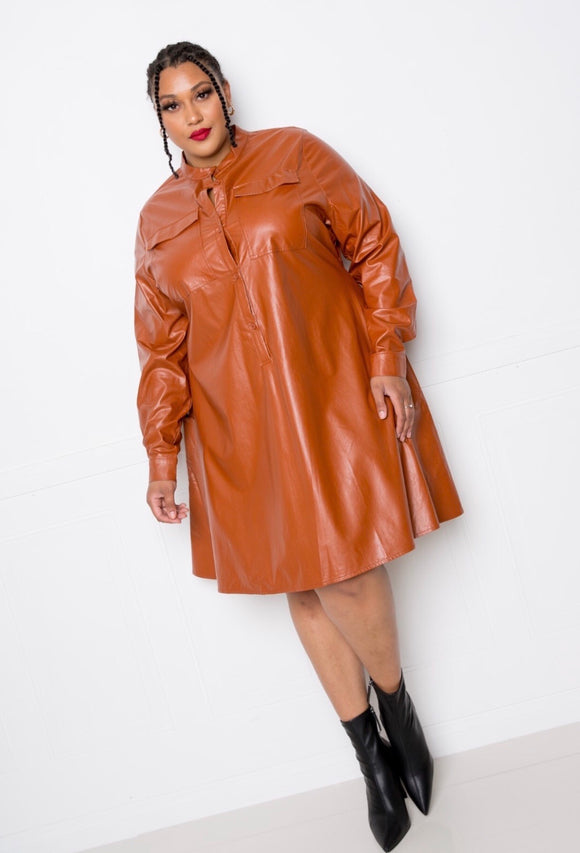 Chocolate Plus Size  Leather Swing Dress -  Mogul Boutique