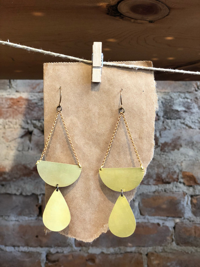 Tear Drop Brass Earrings
