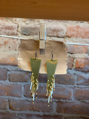 Brass Earrings with Porcupine Quills