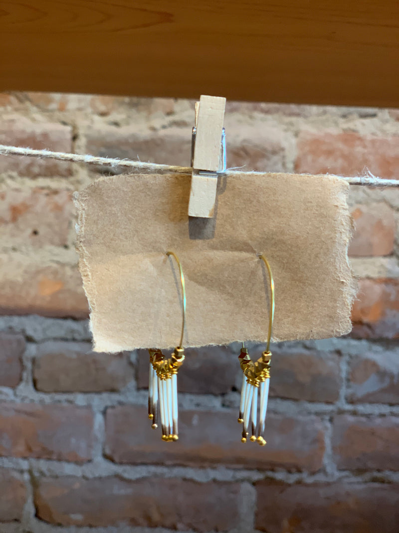 Brass Hoop Earrings with Porcupine Quills