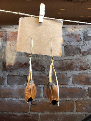 Feather + Leather Earrings