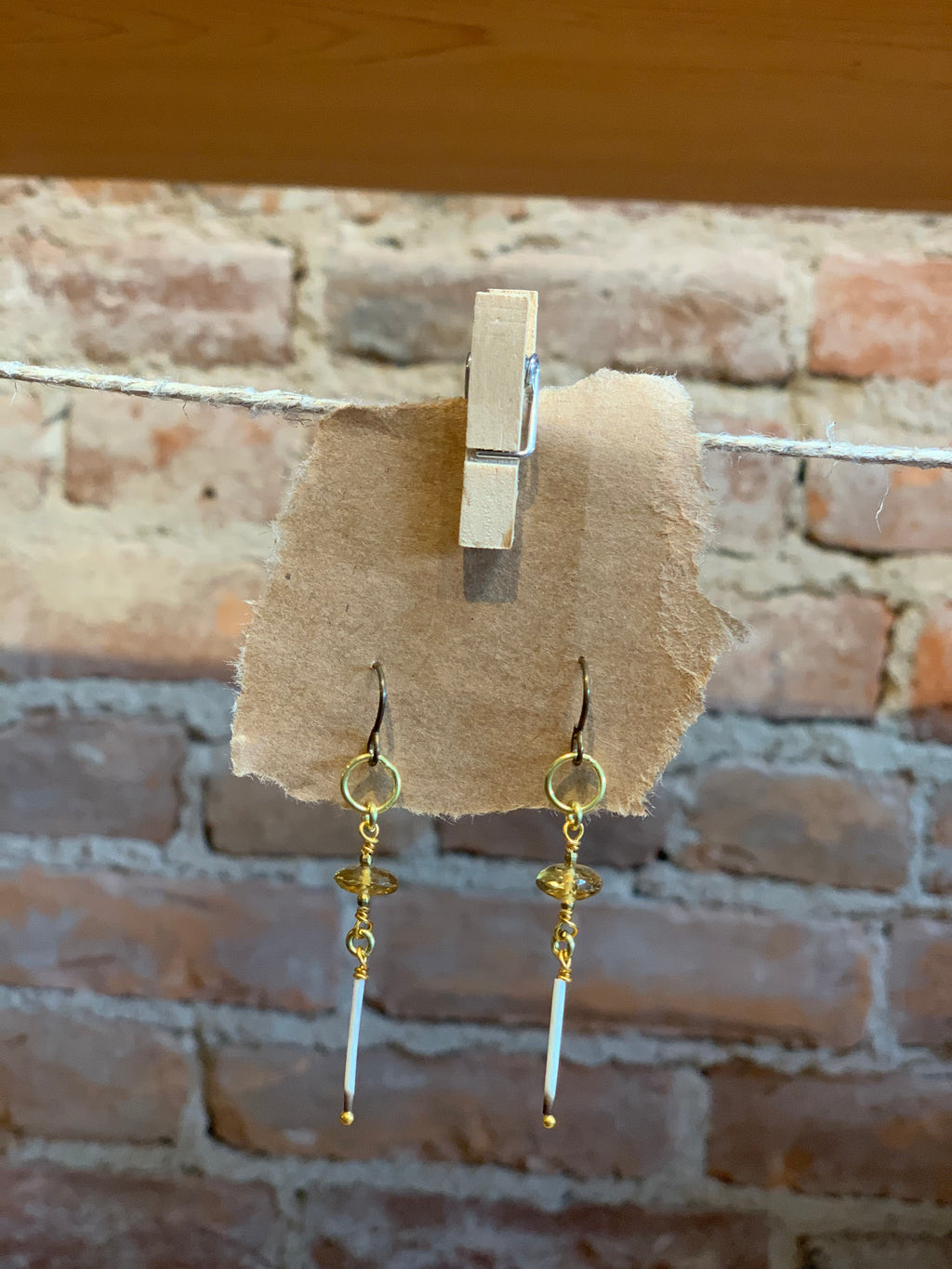 Topaz and Porcupine Quill Earrings