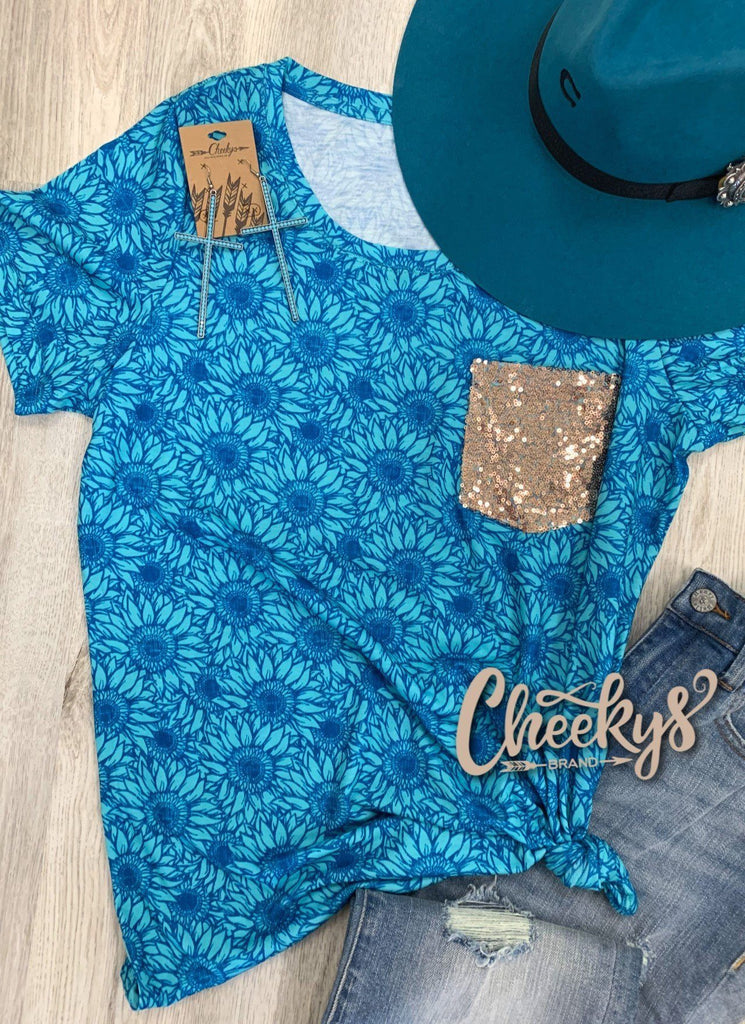 Blue Sunflower Scoop with Rose Gold Sequin Pocket Cheekys Apparel 23
