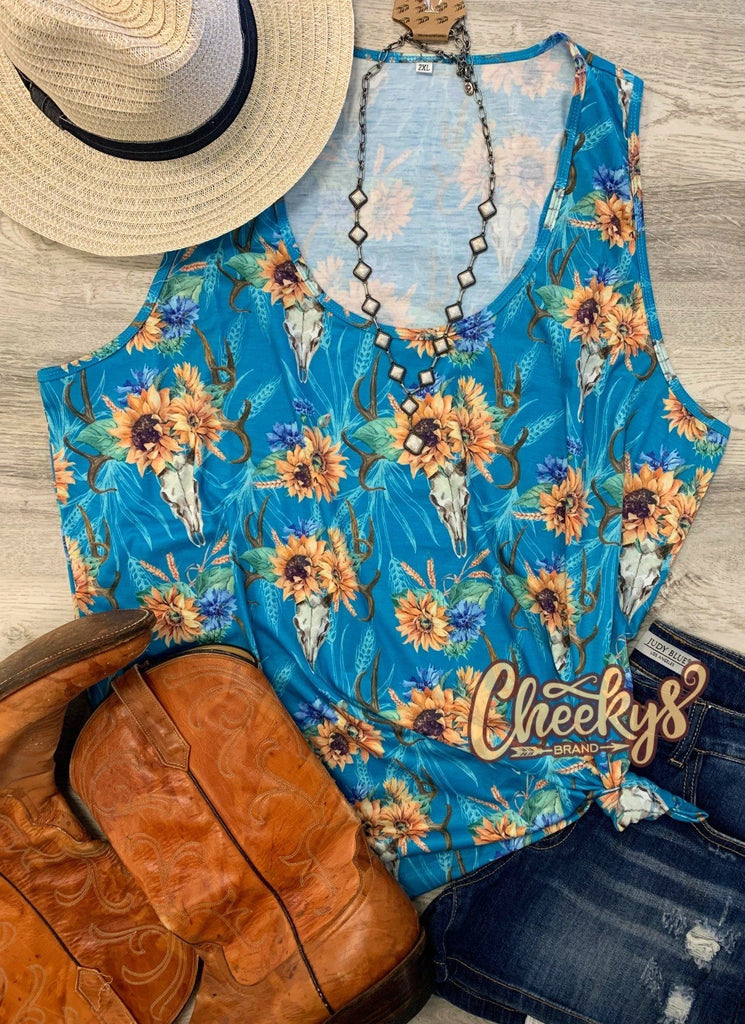 Amber Sunflower Skull Tank in Turquoise Cheekys Apparel 23