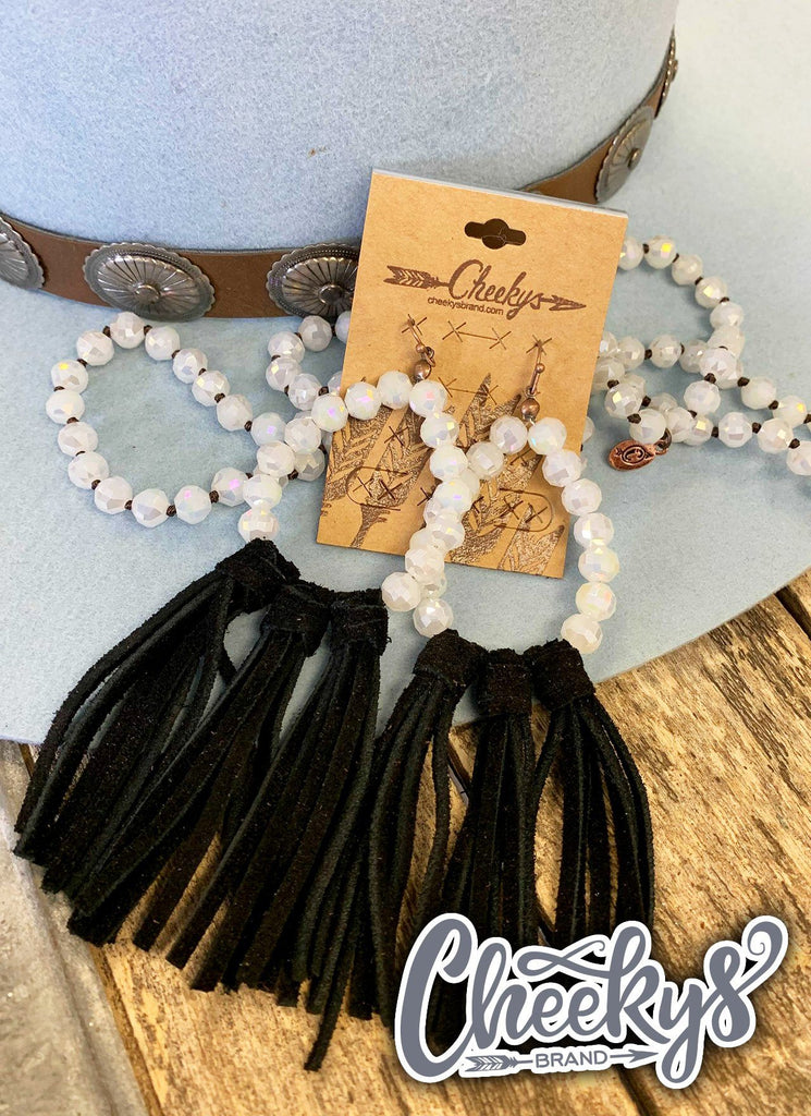Willa Leather Tassel Earrings with White Beads and Black Tassels Jewelry 18