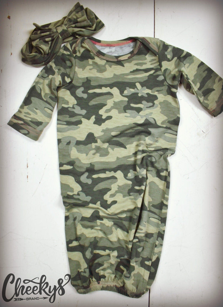 Hunting Hunnies Camo Baby Gown and Matching Head Bow
