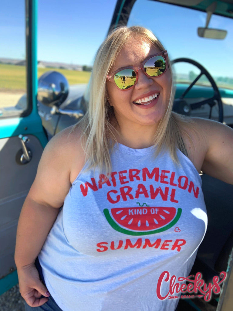 Watermelon Crawl Kind of Summer Tank on Periwinkle