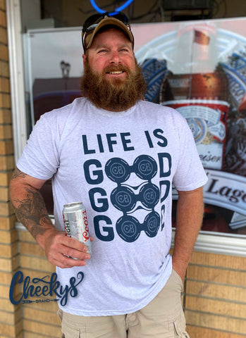 Life Is Good Good Good Unisex Heather Caliche