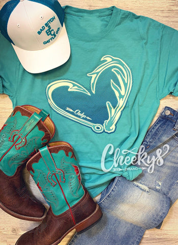 Hunters Heart on Teal Unisex Tee Cheekys Apparel 38