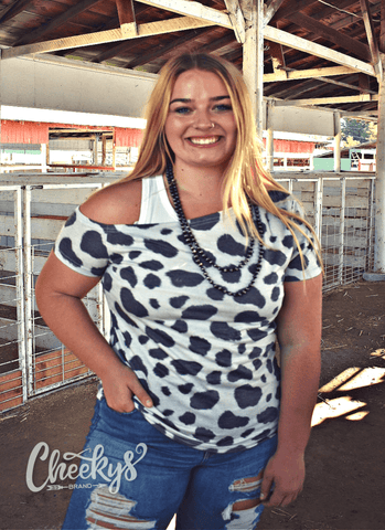 Cow Print Off The Shoulder Scoop Cheekys Apparel 23