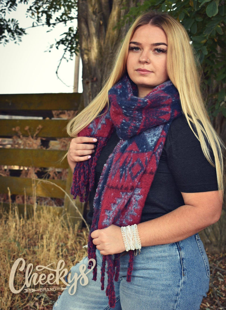 Makenzie Western Pattern Scarf In Pink And Purple Cheekys Apparel 109