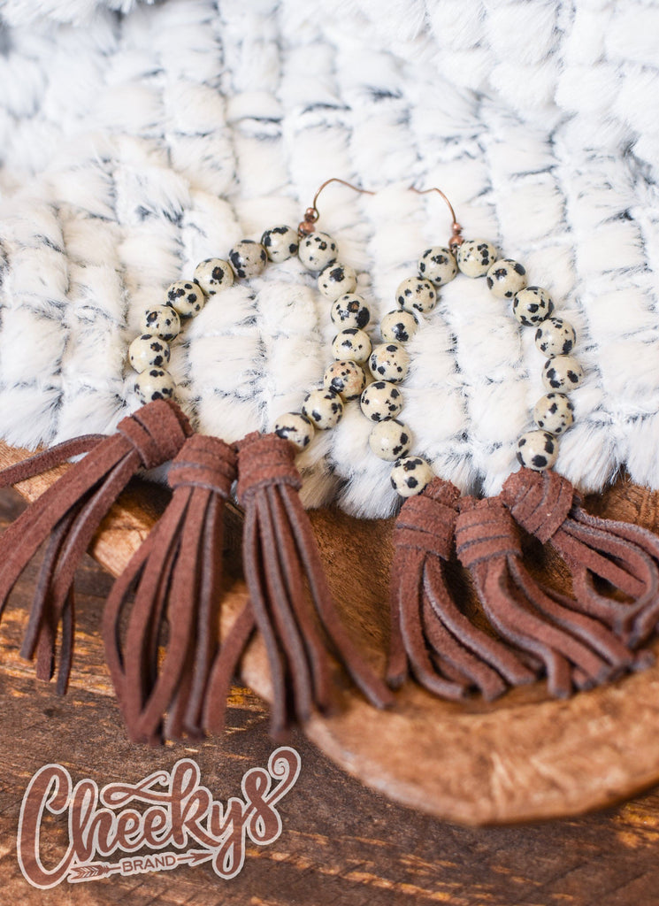 Willa Leather Tassel Earrings with Cow Print Beads and Brown Tassels Jewelry 18