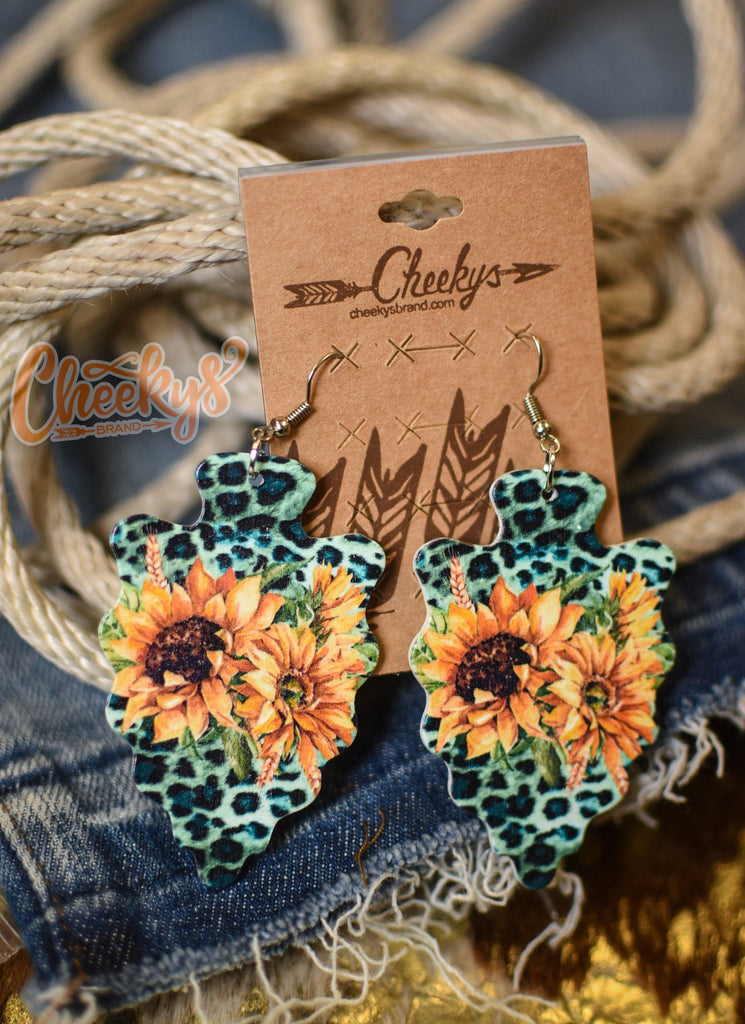 The Lydia Turquoise Leopard Sunflower Arrowhead Earrings Accessories 18