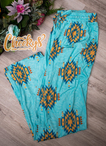 Ponderosa Aztec Lounge Pants in Turquoise and Mustard Cheekys Apparel 23
