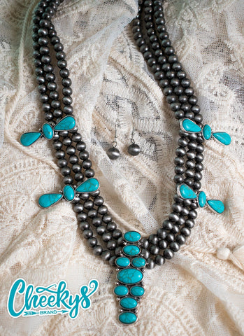 Emma Navajo Pearl and Turquoise Necklace and Earring set! Cheekys Brand