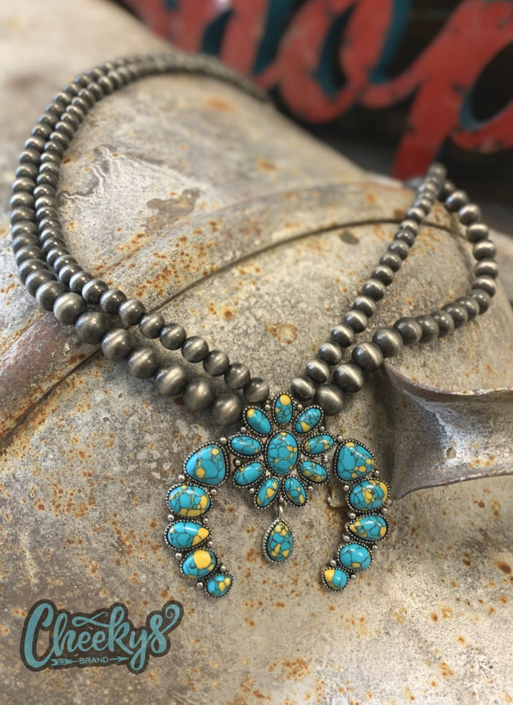 Roselynn Squash Blossom Necklace With Turquoise Stones and Navajo Pearls