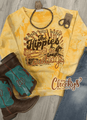 Raisin' Hell With The Hippies and the Cowboys Sweatshirt on Sunshine Tie Dye Cheekys Apparel 23