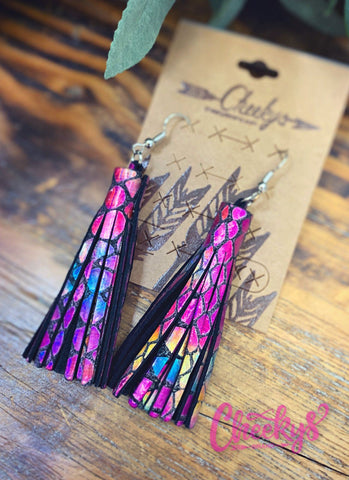 Mermaid Leather Tassel Earrings