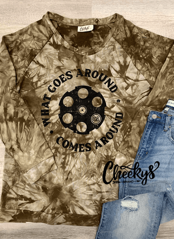 What Goes Around Comes Around Sweatshirt on Olive Tie Dye! Cheekys Apparel 01