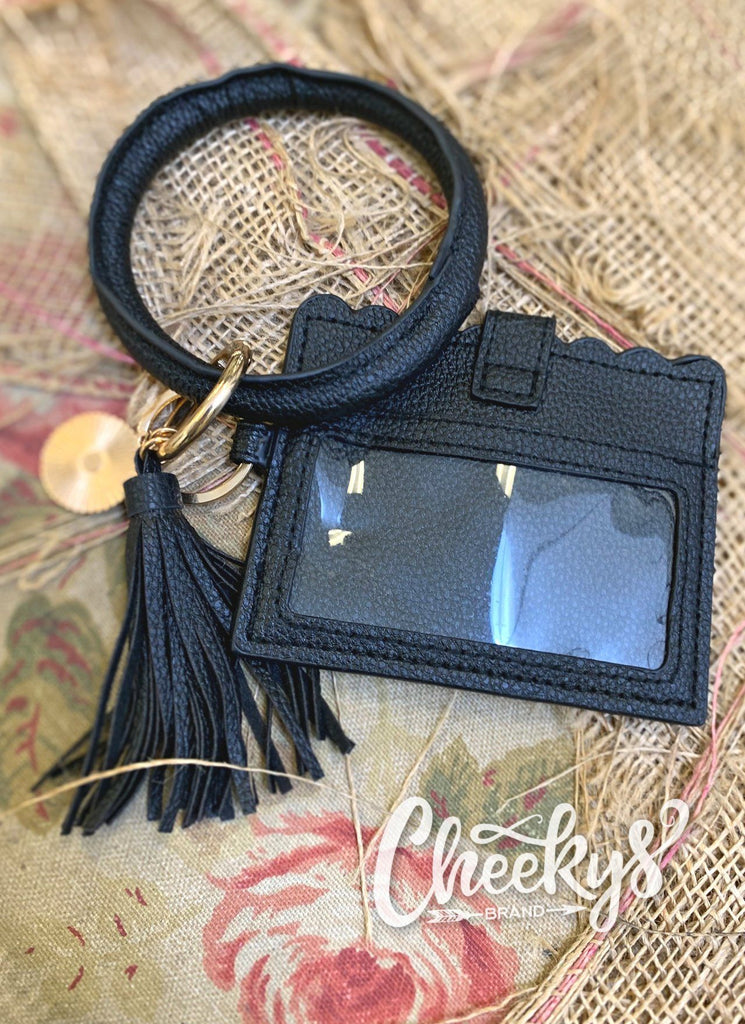Black Key Ring With ID Or CC Holder Accessories 103