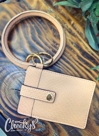 Blush Pink Key Ring and One Card Slot Holder