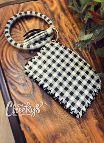 Black&White Plaid Key Holder With Wallet