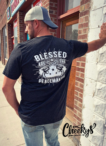 Blessed Are The Peacemakers on Charcoal Black Unisex Tee Cheekys Apparel 38