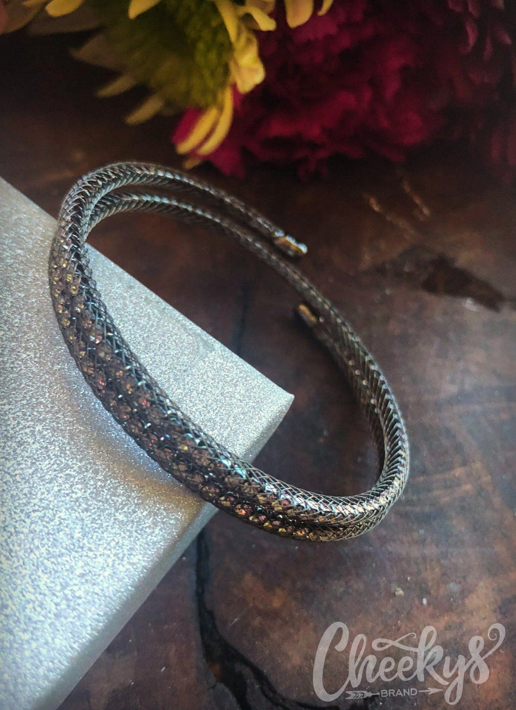 Rhinestones and Netting Bracelet in Gunsmoke
