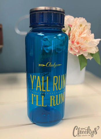 Y'all Run - I'll Rum Blue Water Bottle
