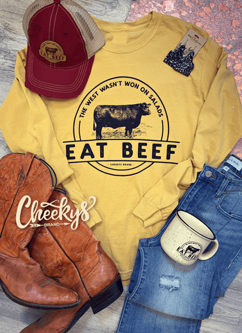Eat Beef Long Sleeve Unisex Shirt On Marigold
