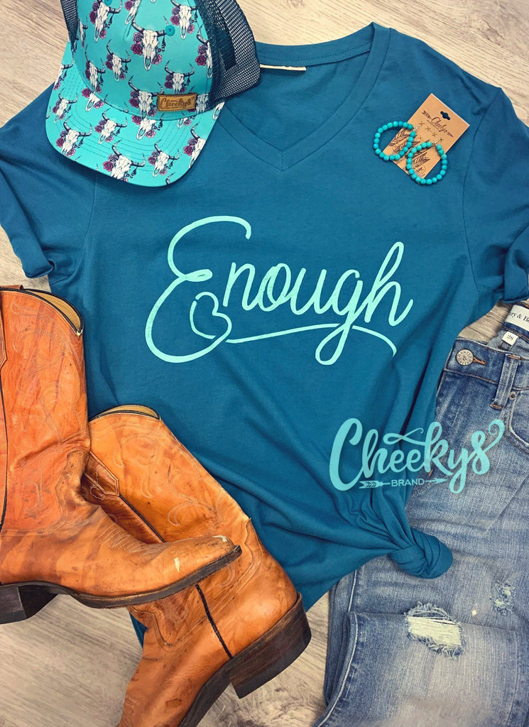 Enough Unisex V-Neck Tee on Patina Cheekys Apparel 37