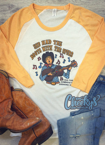 Boots With The Spurs Mustard Raglan Cheekys Apparel 123