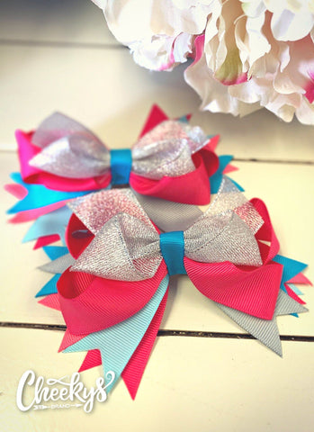 Silver and Pink Shimmer Hair Bows Set of 2 Accessories Cheekys Brand