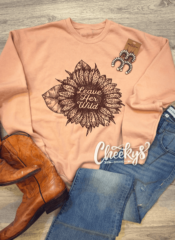 Leave Her Wild Sweatshirt on Blush Peach Cheekys Apparel 101