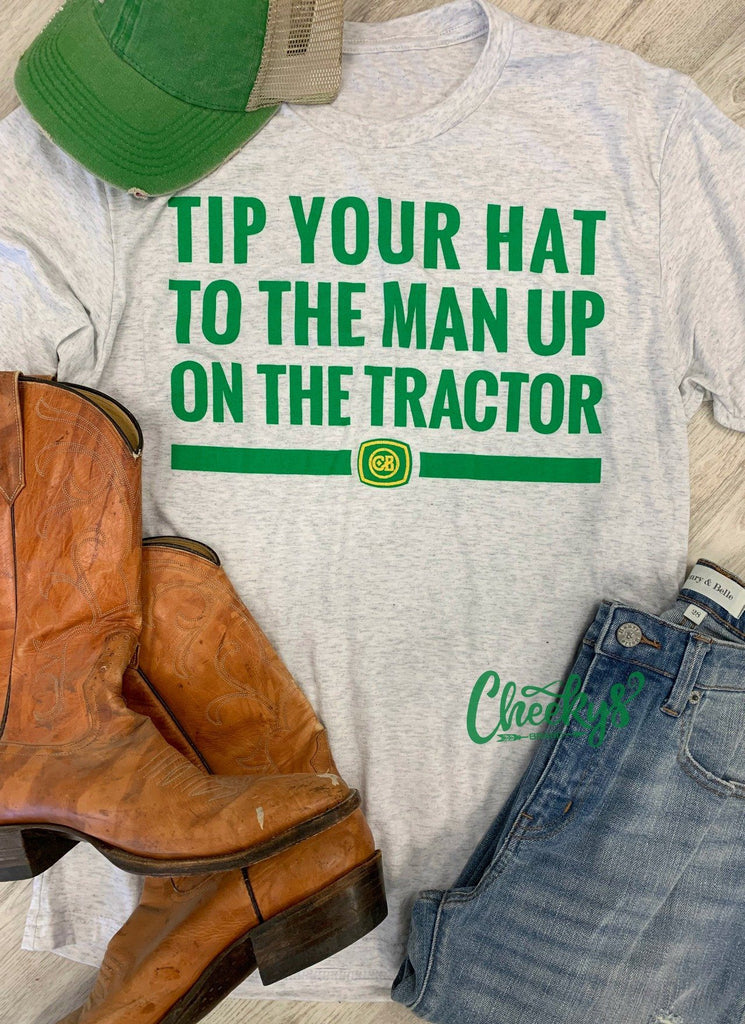 Tip Your Hat To The Man Unisex Tee on Heather Caliche Cheekys Apparel 38