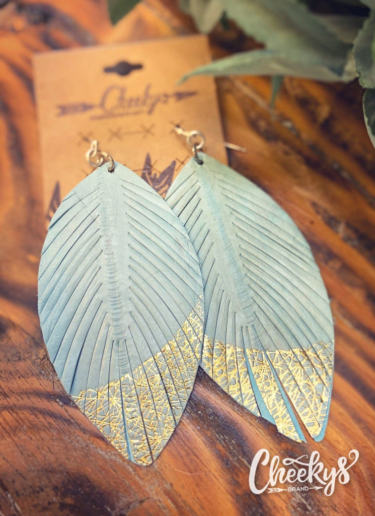 Gold Digger Feather Earring in Mint Jewelry 03