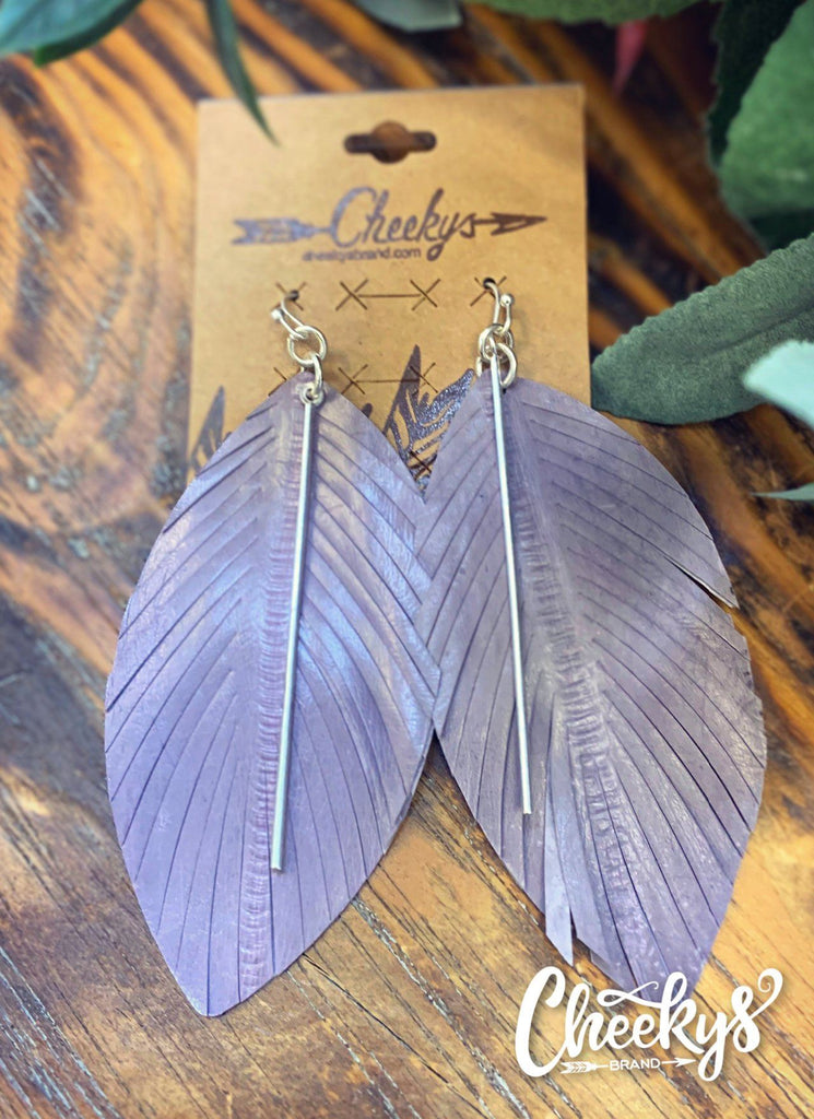 Luscious Lavender Feather Fringe Earrings Jewelry 03
