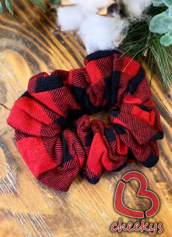 Hairlious Red & Black Plaid Scrunchie Body Care Cheekys Brand