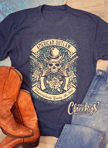 *PRE-ORDER* AMERICAN OUTLAW UNISEX TEE ON VINTAGE NAVY Cheekys Apparel 38