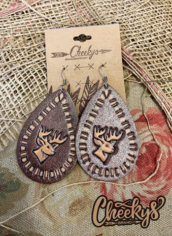 Can't Catch My Deer Leather Earrings Jewelry 06