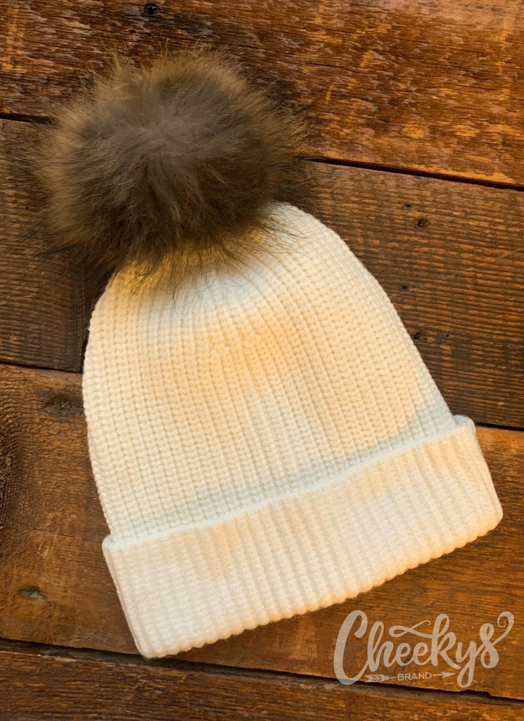 The Tori Beanie in Ivory with Real Fur Pom