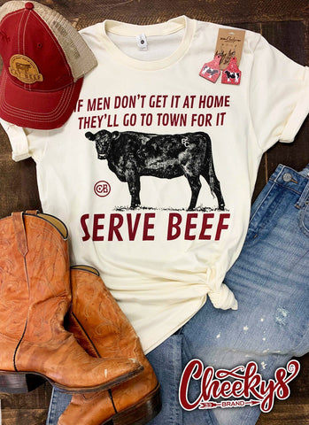 Serve Beef Unisex Tee on Barley White Cheekys Apparel 38