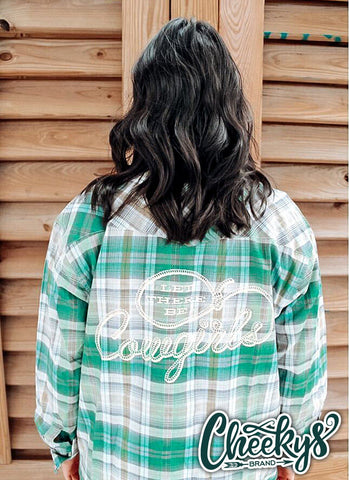 Let There Be Cowgirls Green Plaid Button-Up Western Shirt Cheekys Brand