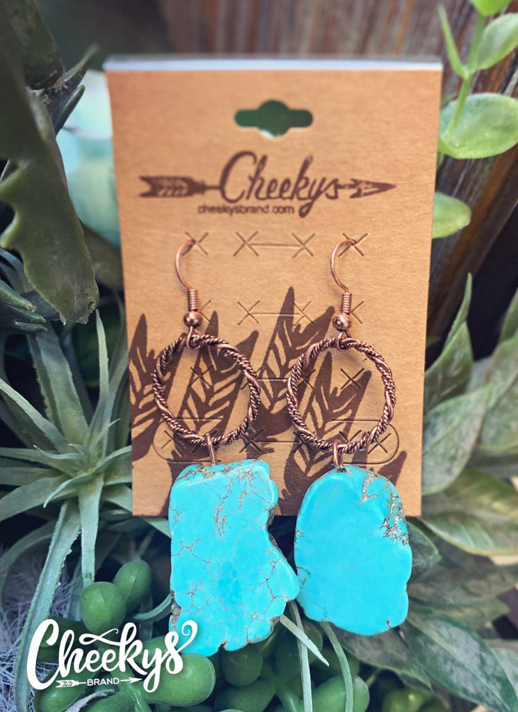 Jane Natural Stone Earring Turquoise/Bronze Jewelry 18