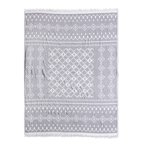 Aztec Pattern Turkish Throw - Silver