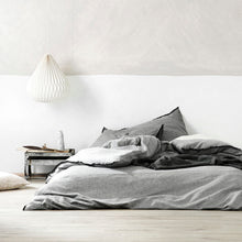 Load image into Gallery viewer, Aura Chambray Fringe Duvet - Smoke